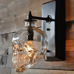 skull bar glasses Australia - Loft Personality Industrial Iron+Glass Retro Bar Outdoor Wall Lamp Skull Wall Sconce Lights Hotel KTV Bedroom Living Room Lighting