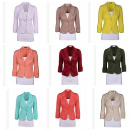 Barato Blazer De Blusa De Casaco Fino-Women Blazer Tops Lady Casual Long Sleeve Slim Work Business Suit Coat Jacket Office OL Casacos KKA2735