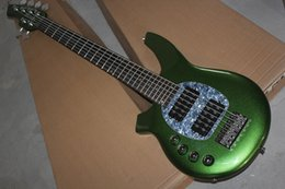 $enCountryForm.capitalKeyWord Canada - OEM Factory custom free shipping New Top Quality musical instrument Left Handed 6 String Music Man green Electric Bass Guitar active pickups