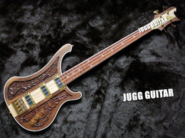 Rickenbastard 4004 LK Lemmy Kilmister Limited Edition Natural Walnut Hand-carved Electric Bass Guitar Korea Gold Hardware 3 Pickups