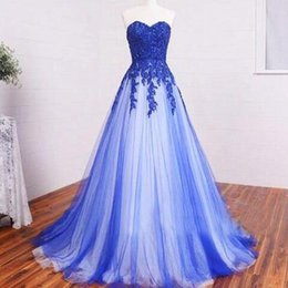 Barato Rendas Applique Corpete Baile Vestidos-Cheap High Quality <b>Lace Applique Bodice Prom Dresses</b> A Line Royal Blue Tulle Strapless Sweetheart Longo Formal Evening Party Vestidos Custom