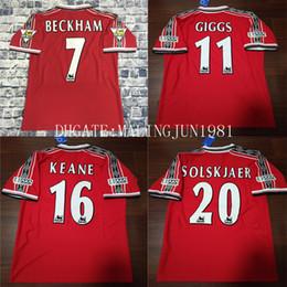 Velvet Name Number 98 99 Man Beckham Keane Solskjaer Giggs 3 Champions Retro  UTD Soccer jersey 1998 1999 U Classic Vintage Football Shirt fde6d8dc2