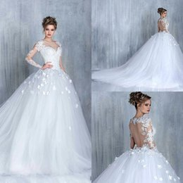 Superbe Robe De Mariée De La Cathédrale Sweetheart Pas Cher-2017 Vintage Gorgeous Long Sleeves Robes de mariée en dentelle Sweetheart Illusion Sexy Sheer Ball Gown Taille grande Robes de mariée en train de cathédrale