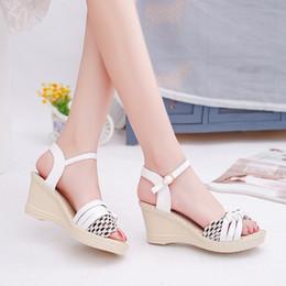 392db19cbf6a Discount korean wedges sandal - 2016 new summer sweet Korean buckle  waterproof high-heeled fish