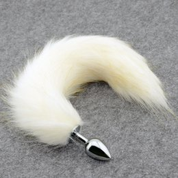 Tapones De La Cola De Los Animales Baratos-White Fox Tail Metal Anal Plug, Faux Butt Plug, Animal RolePlay Cat Tail Cosplay, Productos sexuales, Juguetes sexuales para mujer castidad tail