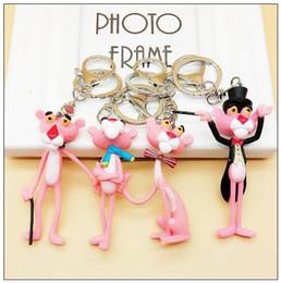 4 Styles Pink Panther Cartoon Keychain Vinyl Doll Key Chain Ring Creative Birthday Gift Pendant Keyring CCA7803 100pcs