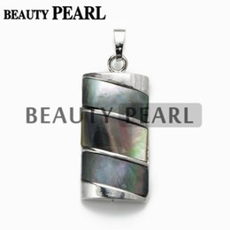 Black Lip Jewelry Canada - Silver Plated Rectangle Black Lip Shell Pendant with Bead Necklace Chain Men and Women Unique Jewelry
