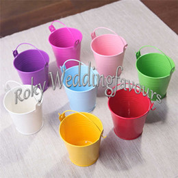 tin boxes wholesale NZ - FREE SHIPPING 50pcs Mini Tin Pails Party Favors 7.5cm Tall Mini Bucket Candy Boxes Kids Party Decors Favors Ideas