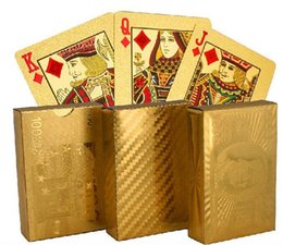 Wholesale 50set hot designs Gold foil plated playing cards Plastic Poker US dollar Euro Style General style D663