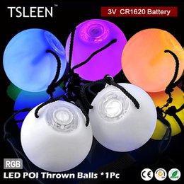 Barato Levou Poi Atacado-Wholesale- + Flash Sale + 1PC Professional Belly Dance Level Hand Props LED RGB POI Espalhou Bolas Coloridas #