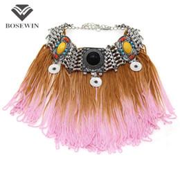 UniqUe chokers online shopping - Unique Design New Resin Long Tassel Necklaces Pendants Bohemia Choker Statement Accessories Women Collar Necklace CE4109