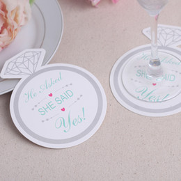 Coaster Favors Canada - 1200pcs=100bags Lot+Newest Style Diamond Ring Design Paper Coasters Wedding Favors Coasters(Set of 12)+FREE SHIPPING