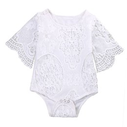 1b914b09cab2 2017 INS New Baby Girl White Lace Rompers Infant Toddlers Floral Fly Sleeve  One Piece Jumpsuit Free Shipping