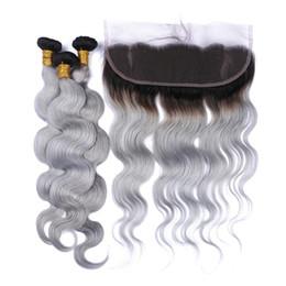 $enCountryForm.capitalKeyWord Canada - Ombre Grey Lace Frontal With 3pcs Bundles 1B Grey Malaysian Virgin Hair With Frontal Body Wave 13*4 Lace Frontal Closure in Stock