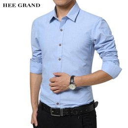 Barato Camiseta Retro Fit Camisa-Atacado- HEE GRAND Men's Slim Fit Camisas 2017 Outono New Arrival Business Retro Camisas de manga longa de manga sólida MCL1754