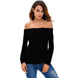 Upper Blouse UK - Autumn Women Blouse Sexy Slim Basic Upper Shirt Solid Color Long Sleeve Off Shoulder Ruffle Tees Female Party Clubwear Tops Womens Clothing