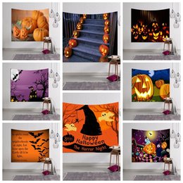 14 designs 150100cm halloween pumpkin ghosts pattern home decoration wall hanging towel polyester wall decor cca7497 100pcs cheap halloween decorations - Halloween Decorations On Sale