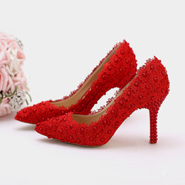 Women Formal Lace Shoes UK - Hot Selling Wedding Shoes Lace Flower Platform Bridal Formal Dress Shoes Women Pumps Birthday Party Dance High Heels