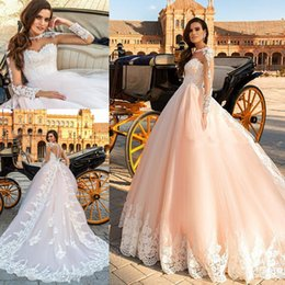 China Sheer Back Royal Train Blush Pink Wedding Dresses 2017 Crystal Design Bridal Long Sleeves illusion boat sweetheart neckline ball gown suppliers