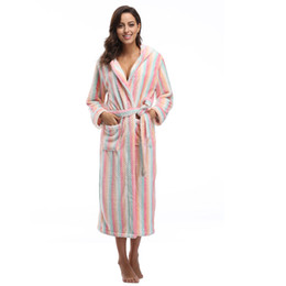 Wholesale- Colorfulkoala Flannel Robe Dress Women Bathrobes Stripe Dot  Female Sleepwear Lounges Robe Gown Pyjamas Long e15285fc7
