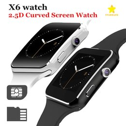 Sim Cards For Smartphones Australia - X6 Smart Watch Curved Screen Smartwatches Bracelet Watch Support Camera SIM Card TF Card Slot Smartwatch for Android Smartphones Retail Box