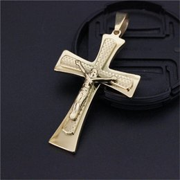 Polished Pendant Canada - 3pcs lot Non-fade Polishing Golden Plated Cross Pendant Stainless Steel Fashion Jewelry Biker Style Unisex Jesus Cross Pendant