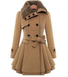Barato Casaco De Trincheira Quente Para Mulheres-Womens Modern Button Closure Winter Long Trench Coat, Swing Coat com cinto, Mid Length Thick Warm Jackets