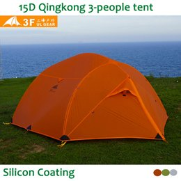 Chinese  Wholesale- 3F UL Gear Qinkong 15D silicon Coating 3-person 3-Seasons Camping Tent with Matching Ground Sheet manufacturers