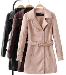 Faux leather corset belt online shopping - 2017 Autumn winter Women medium long leather clothing fashion PU trench belt corset leather coat women