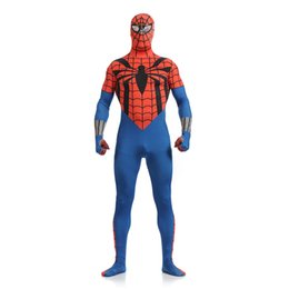 Homme Spandex Rouge Hommes Pas Cher-Halloween Classic Red and Blue Lycra Spandex Plein corps Zentai Suit Superhero Spider-man Cosplay Bodysuit Costume sexy pour Halloween