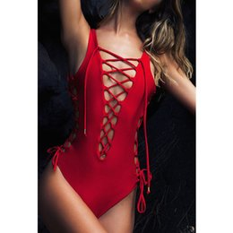 Brazilian One Piece Suit Canada - 2016 New Womens Red White Black Hollow Out Strappy Triangle Backless Bathing Suit Brazilian Monokini Swimsuits Swimwear One Piece Bodysuit