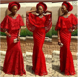 Jacket Gown Aso Ebi Canada - Formal Red Lace Prom Dresses Black Girl Prom Gowns With Wraps Mermaid Fashion Aso Ebi Party Gowns