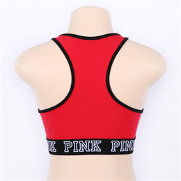 Barato Sutiã Esportivo Quente-Pink Letter Sports Bras Yoga Gym Midriff-baring T-Shirt Push Up Fitness Vest Elastic Crop Tops Bras Ajustável Sexy Underwear Quente