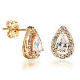 Gold Ear Drops Canada - Woman's Water Drop Earrings Classical 18K Gold Platinum Plated Women's Wedding Jewelry Earring Cheap Price KE651