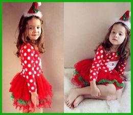 $enCountryForm.capitalKeyWord Australia - factory cheap price children vestidos white dot green bow Baby Girls Kids Xmas Clothing Christmas Party Red Santa Long Sleeve Tutu Dresse