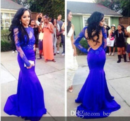 Black Prom Dresses Sale Canada - Hot Sale Royal Blue Prom Dresses Mermaid Backless With Lace Bateau Red Carpet Dress High Neck Evening Dress For Black Girl Dress