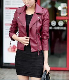 Barato Jaquetas De Couro Na Moda-Venda Por Atacado - New Casual Spring Autumn Mulheres Short Faux Leather Jackets Coat Slim Zipper Motorcycle Trendy Faux Leather Outwear LEATHER-3012