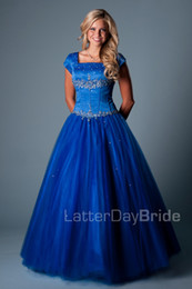 $enCountryForm.capitalKeyWord Canada - Royal Blue Ball Gown Long Modest Prom Dresses With Cap Sleeves Square Beaded Crystals Puffy Floor Length Girls Teens Prom Party Dresses