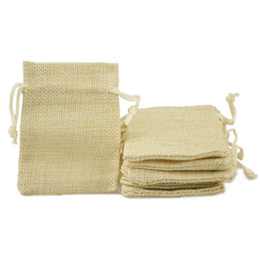 Small Packaging Fabric Bags Canada - 7x9cm Faux Jute Drawstring Jewelry Bags Small Pouches Burlap Blank Linen Fabric Gift packaging bags Stylish Reusable Cream Color