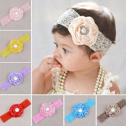 handmade gifts for baby girl NZ - 12 Color Floral Elastic Lace Headbands for Toddlers and Babies Fashion Handmade Satin Headband Boutique Girls Hair Accessories Birthday Gift