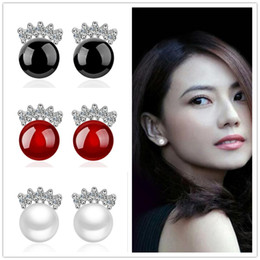 White Stone Ear Studs Canada - Fashion Red Black Agate White moonstone Opal Pearl Stone Earrings 925 Silver Plated stud Ear Jewelry Mirror earring for women Xmas Gift