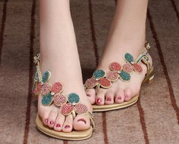 a557042c5f55f3 Big size 34-44 hot 2016 Gladiator Sandals for Women Bohemia Beaded Summer  luxury Rhinestone Flowers Flat Heels Flip Flops Sandals lady Shoes