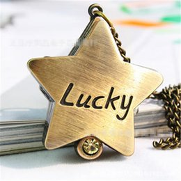 $enCountryForm.capitalKeyWord NZ - Ancient Retro Bronze Quartz Five-Pointed Luck Star Shaped Pocket Watch Necklace Pendant Women's Gift