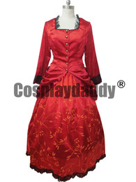 Wholesale victorian woman costume online – ideas Gothic Punk Dress Elegant Wine Red Medieval Victorian Dress Cosplay Costume