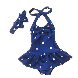 Enfant Filles Tankini Pas Cher-2016 Filles Nouveau Maillot été Dots Bow Mode Bébé Swim Ensembles Bikini enfants Jupe Swimsuits for Kids Fille Tankini