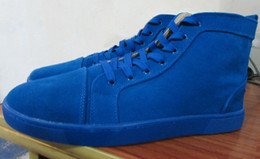 $enCountryForm.capitalKeyWord UK - Blue Suede Red Bottom Sneakers Luxury Designer High Top Skate Sneakers Mens Womens Casual Shoes Brand New Wholesale Price 36-46