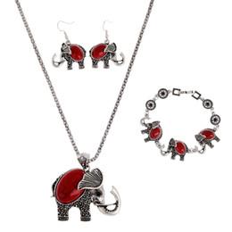 $enCountryForm.capitalKeyWord NZ - Vintage Red Blue Black Turquoise Jewelry Sets Bohemian Elephant Pendant Necklace Drop Earrings Charm Bracelets For Women