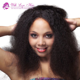 straight afro wigs NZ - Unprocessed 150% Density Coarse Yaki Kinky Straight Lace Wig Virgin Afro Kinky Straight Human Hair Glueless Full Lace Wigs Lace Front Wigs
