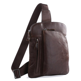 leather sling bag backpack UK - Top Quality Genuine Leather Men Chest Pack Cowhide Messenger Bag Crossbody Bag Sling Backpack #7194C
