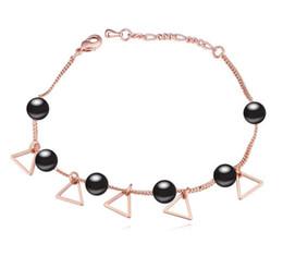$enCountryForm.capitalKeyWord Canada - Bracelets Bangles Fashion Women High Quality Pearl 18K Gold Plated Triangle Alloy Charm Bracelets Wholesale Drop Shipping TBR014